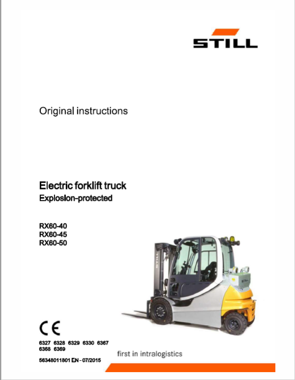 Still Electric Forklift Truck RX60: Model RX60-40, RX60-45, RX60-50 Repair Manual