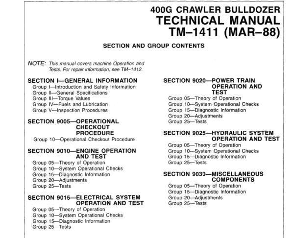 John Deere 400G Crawler Bulldozer Service Manual TM-1411
