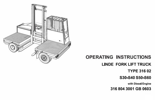 Linde 316 Forklift Truck: S30, S30W, S40, S40W, S50, S50W, S60, S60W Repair Manual