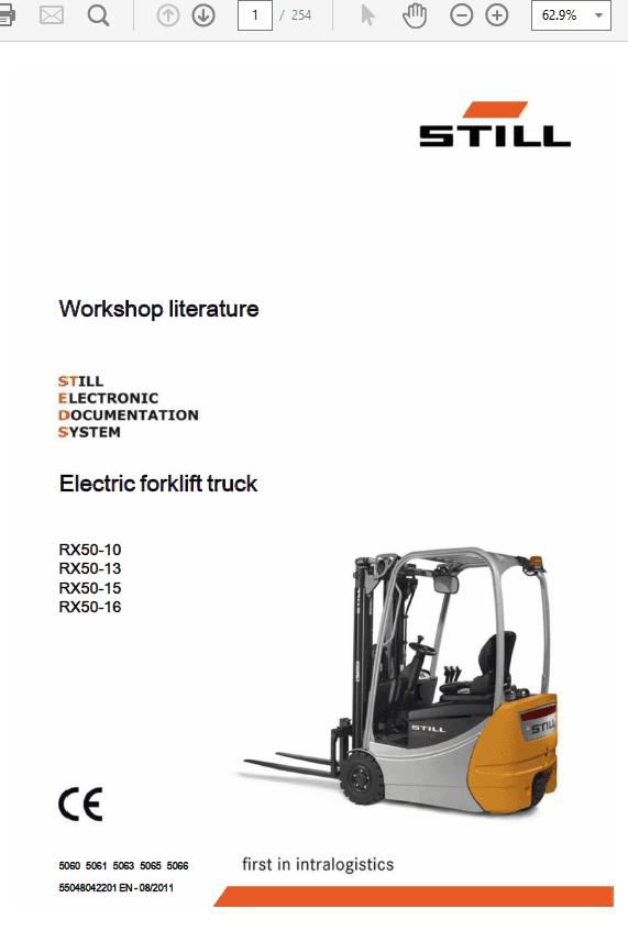 Still Electric Forklift Truck RX50: RX50-10, RX50-13, RX-50-15, RX50-16 Repair Manual