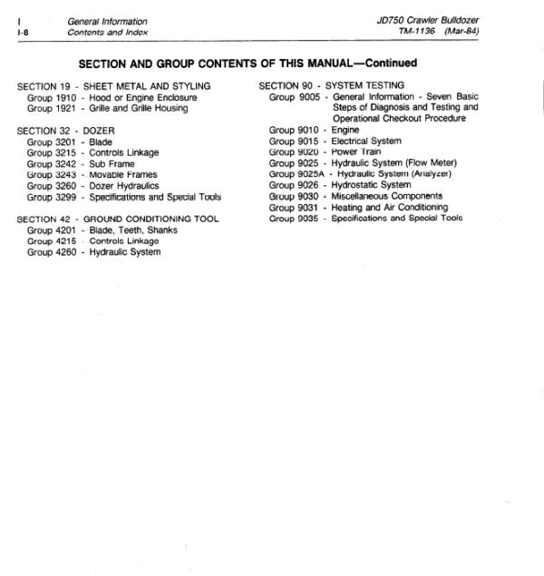 John Deere 750 Crawler Bulldozer Service Manual TM-1136
