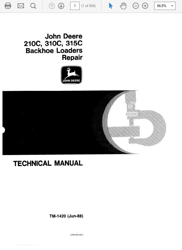 John Deere 210C, 310C, 315C Backhoe Loader Technical Manual