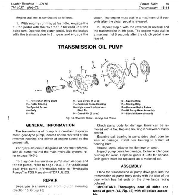 John Deere 410 Backhoe Loader Service Manual TM-1037 on