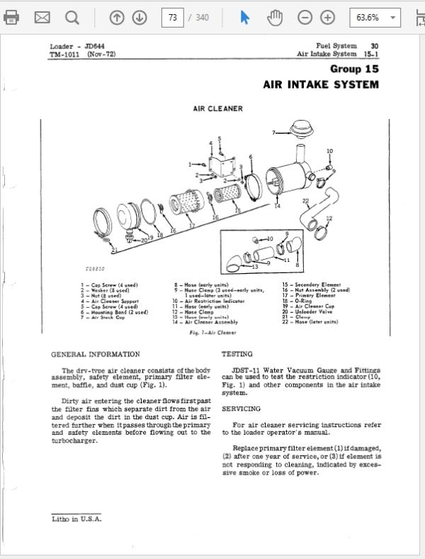 John Deere 644, 644A Loader Service Manual TM-1011