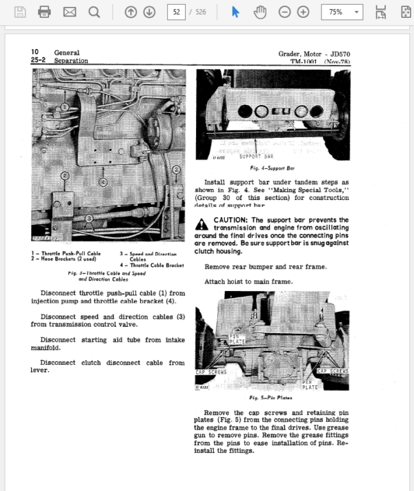 John Deere 570, 570A Motor Grader Service Manual TM-1001