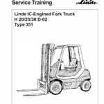 Linde Type 351 LPG Forklift Truck: H20, H25, H30, H35  Service Training Manual