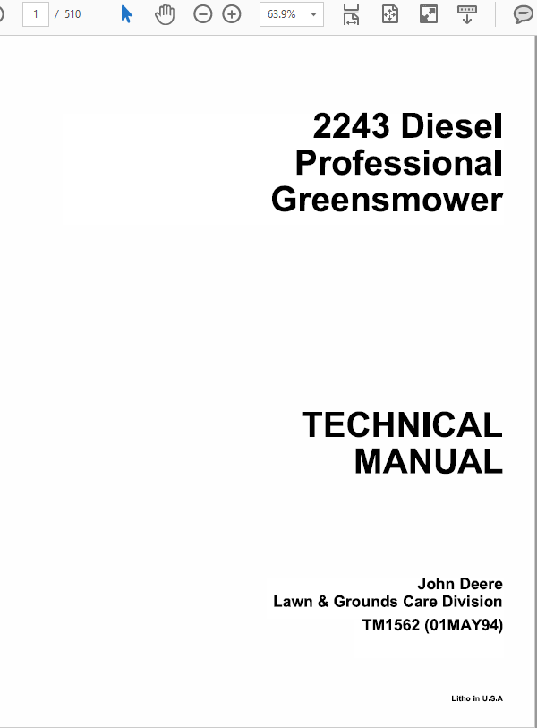 John Deere 2243 Mower Service Manual TM-1473