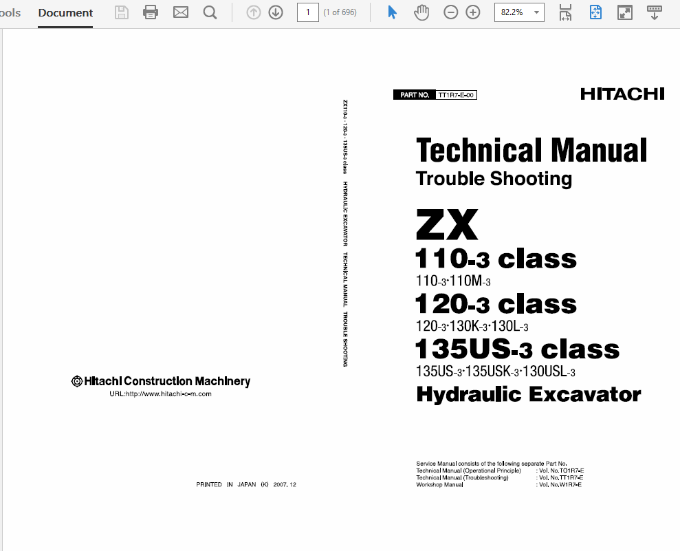 Hitachi Hydraulic Excavator Technical Workshop Manual 110-3, 120-3, 135US-3  Class