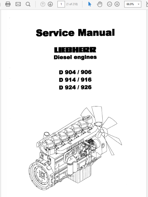 Liebherr Diesel Engine D904 – D906, D914 – D916, D924 – D926 Manual TM-1849 & TM-2223