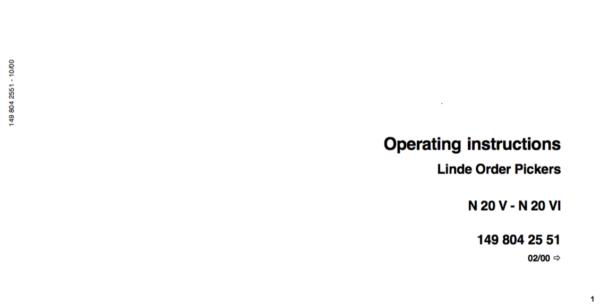 Linde Type 149 Order Picker: N20-N25 Training (Workshop) Manual