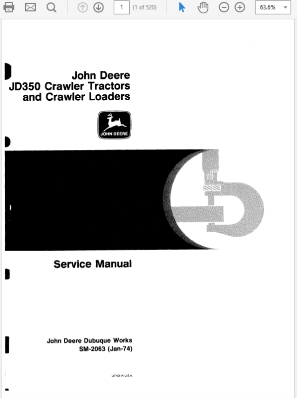 John Deere 350, 350B Crawler Tractor Loaders Technical Manual TM-1032