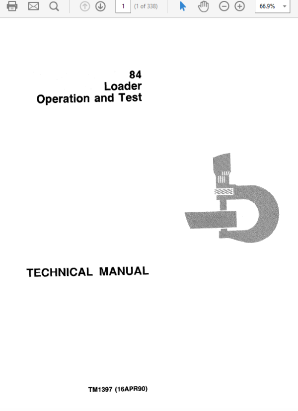 John Deere 84 Loader Service Manual TM-1397 & TM-1398