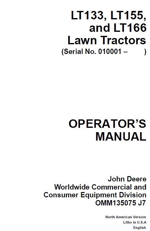 john deere manual for lt155