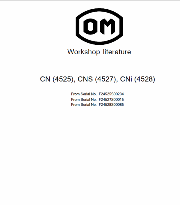 OM Pimespo TN Type 4526, CN Type 4525, CNS Type 4527 and CNI Type 4528 Workshop Manual