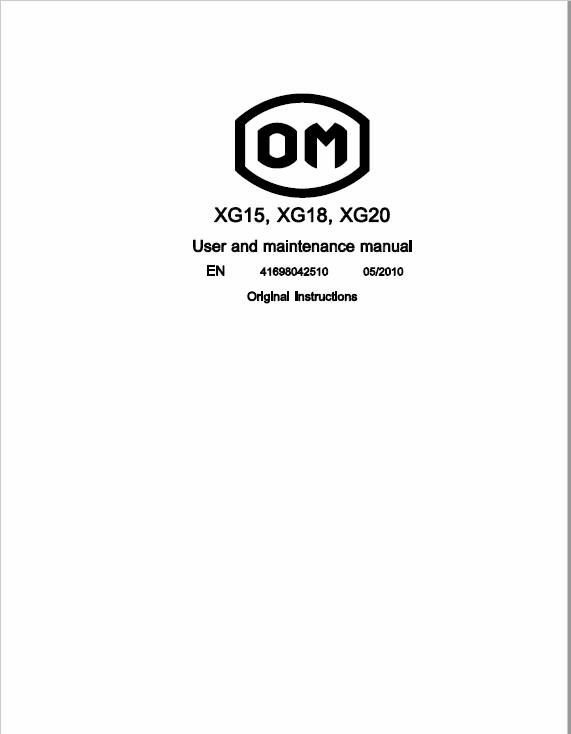 OM Pimespo XG15, XG18 and XG20 Forklift