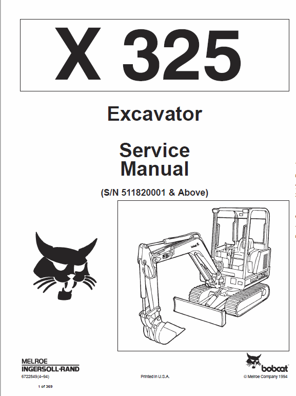Bobcat X325 and X328 Excavator Service Manual