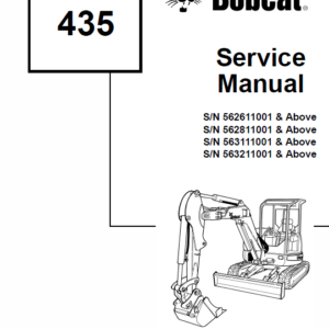 Bobcat 435 Compact Excavator Instructions and Service Manual