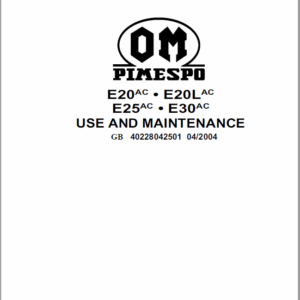 OM Pimespo E20ac, E20Lac, E25ac, E30ac Series 4022 and 4023 Workshop Manual