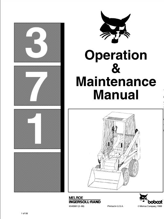 Bobcat 371 Skid-Steer Loader Service Manual