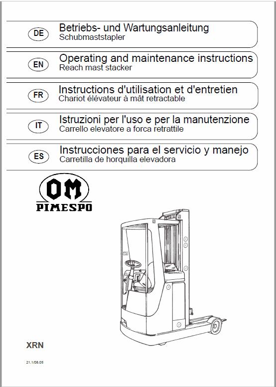 OM Pimespo XRN Reach Trucks Workshop Repair Manual