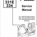 Bobcat 331, 331E and 334 Excavator Service Manual