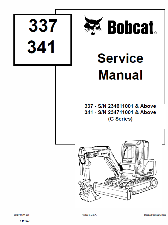 Bobcat 337 and 341 Excavator Service Manual