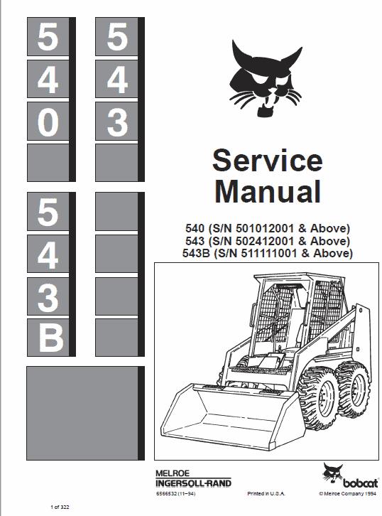 Bobcat 540 and 543 Skid-Steer Loader manual