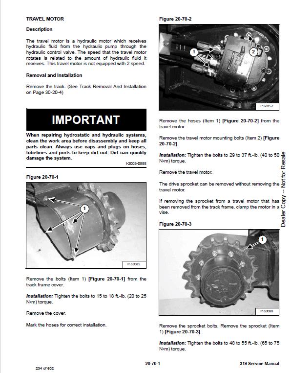 Bobcat 319 Compact Excavator Service Manual
