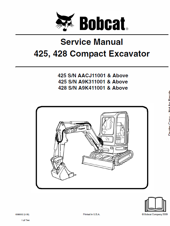 Bobcat 425 and 428 Compact Excavator Service Manual