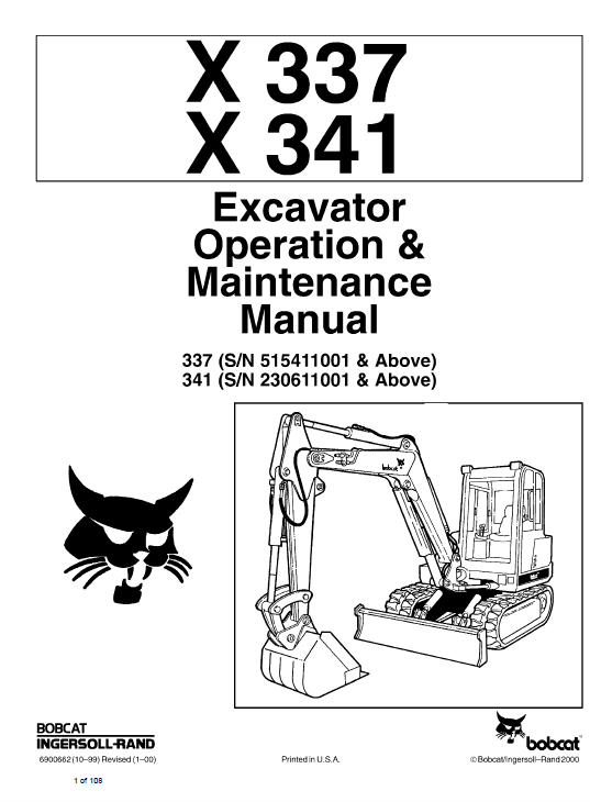 Bobcat X337 And X341 Excavator Operating And Service Manual