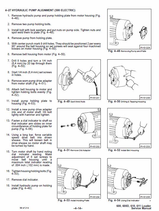 Bobcat 600, 600D, 610 and 611 Skid-Steer Loader Service Manual