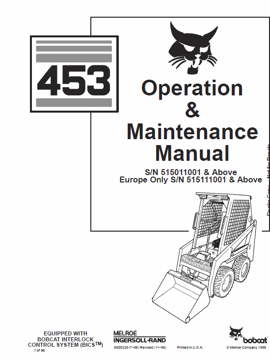 Bobcat 450 and 453 Skid-Steer Loader Service Manual