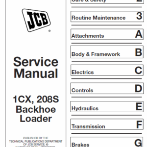 JCB 1CX, 208S Backhoe Loader Service Manual