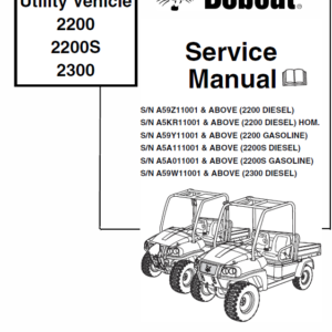 Bobcat 2200, 2200s and 2300 Utility Vehicle manual