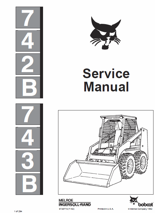 Bobcat 742B and 743B Skid-Steer Loader Service Manual