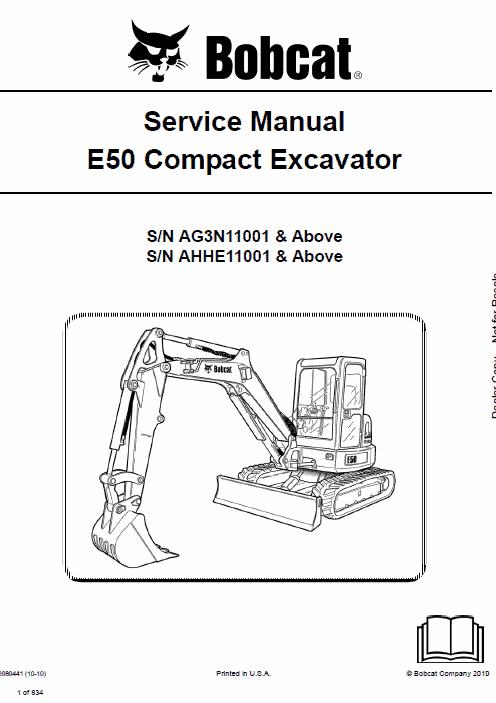 bobcat e50 compact excavator schematics, operating and service manual