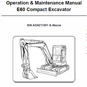 Bobcat E60 Compact Excavator Repair Service Manual