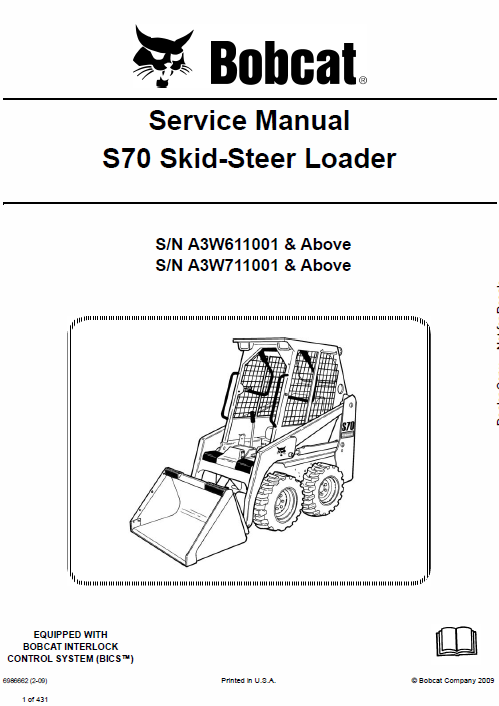 Bobcat S70 Skid-Steer Loader Schematics, Operating and Service Manual