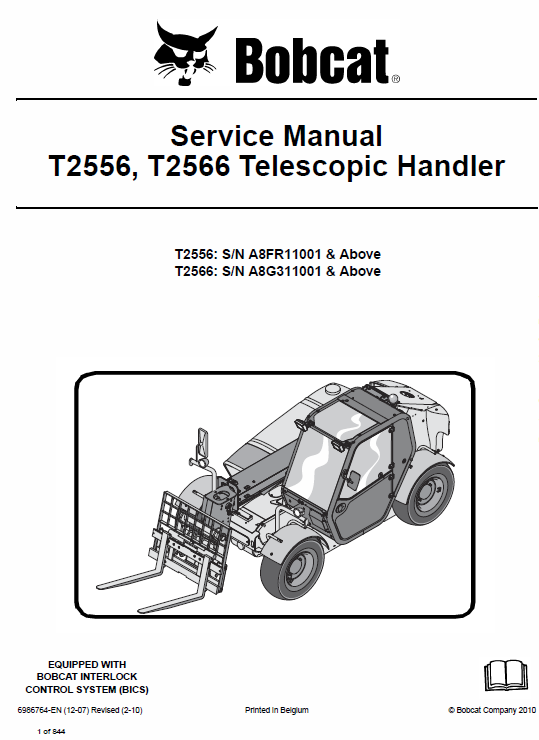 Bobcat T2556 and T2566 Telescopic Handler Service Manual