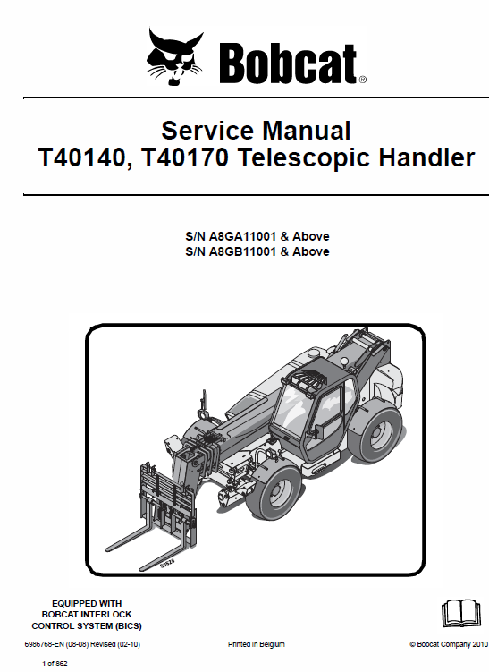Bobcat T40140, T40170 Telescopic Handler Schematics, Operating and Service Manual