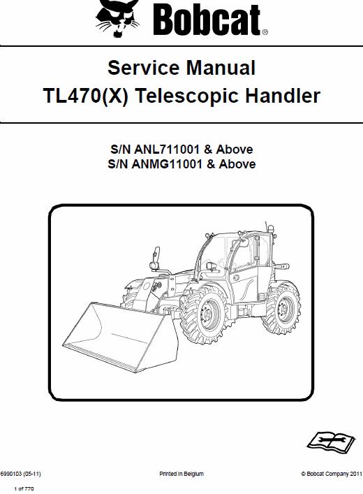 Bobcat TL470, TL470X Telescopic Handler Schematics, Operating and Service Manual