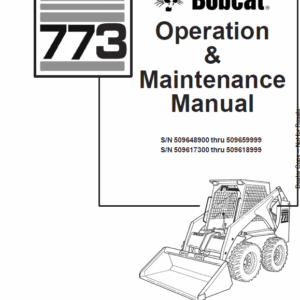 Bobcat 773 Skid-Steer Loader Service Manual