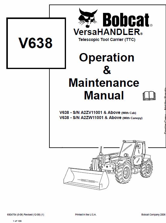 Bobcat V638 VersaHANDLER Telescopic Service Manual