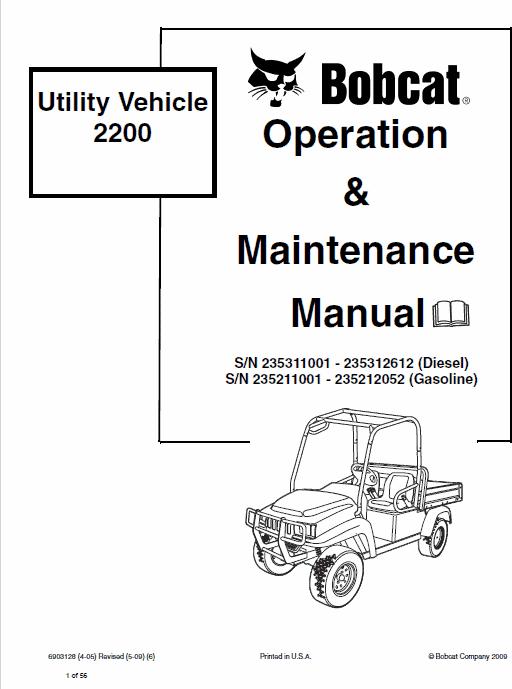 Bobcat 2200 Utility Vehicle Service Manual
