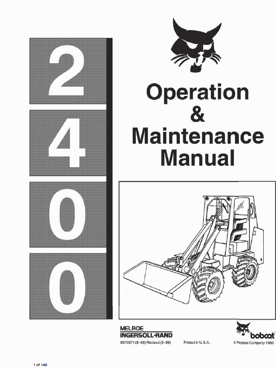 Bobcat 2400 Loader Service Manual