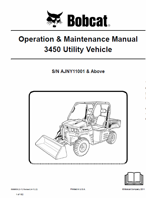 Bobcat 3450 Utility Vehicle Service Manual