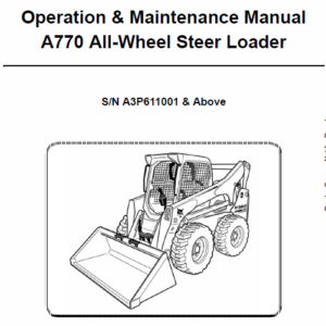 Bobcat A770 Skid-Steer Loader Service Manual