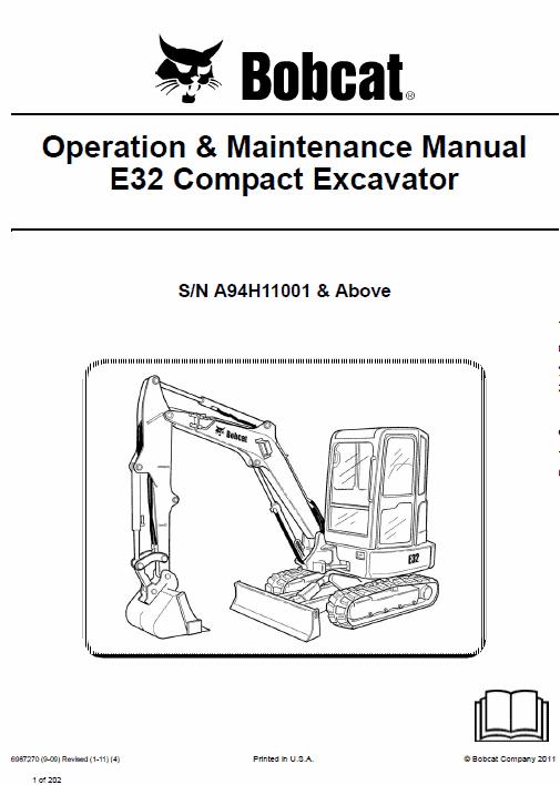 Bobcat E32 Compact Excavator Service Manual