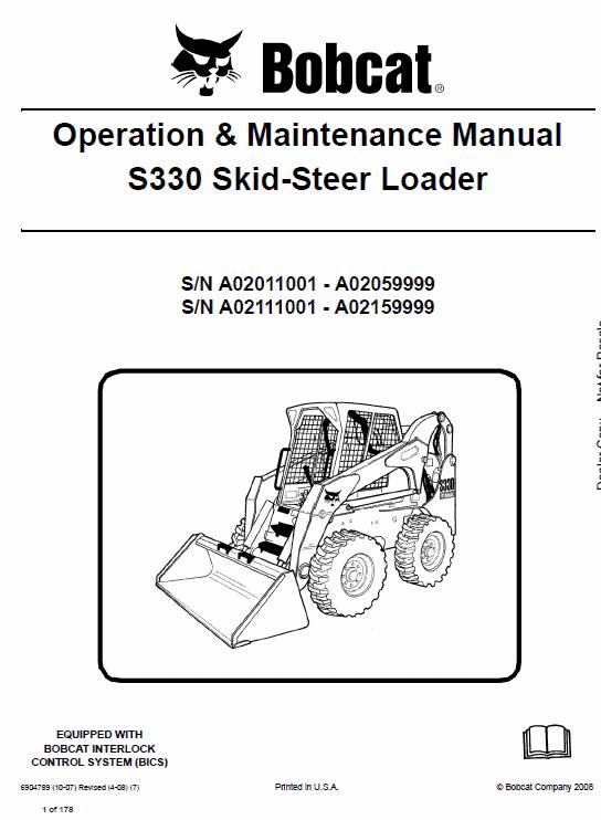 Bobcat S330 Skid-Steer Loader Service Manual