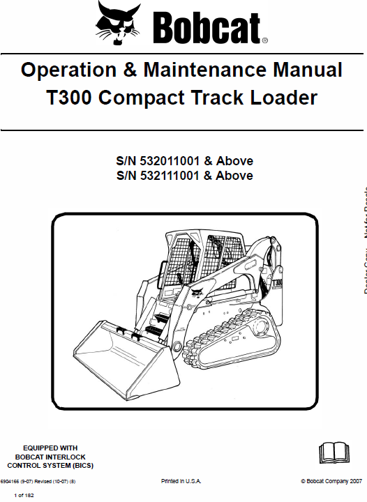 Bobcat T300 Loader Service Manual
